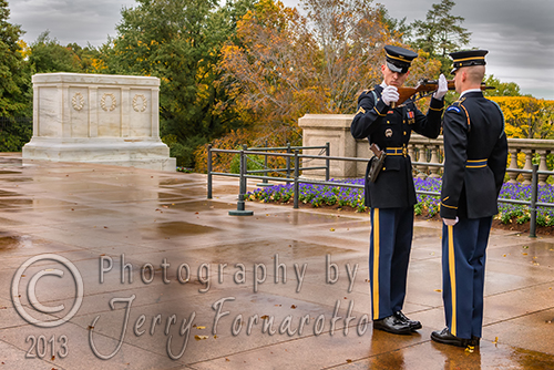 The change of the guard at the Tomb of the Unknown, Arlington National Cemetery occurs every hour. The Commander of the Honor Guard inspects the gun and uniform of the relief guard. Then dismisses the guard on duty. The new guard takes his place. The honor guard stands at attention for twenty-one seconds. He takes twenty-one steps to the opposite site of the tomb. He does an about face and stand for twenty-one seconds. The honor guard will repeat this flawlessly for one hour till he is relieved.
