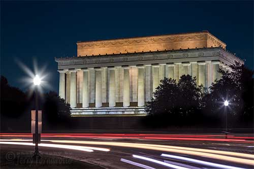 Lincoln Memorial and Car Light Trails