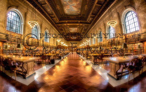 Visitors to the New York Library on Fifth Avenue can read and study on long oak tables in the Rose Main Reading Room. The room is 78 feet wide and 297 feet long. The ceiling is fifty-two feet high and is decorated with murals of clouds. In 1998 fifteen million dollars was spend on the restoration of this great space.