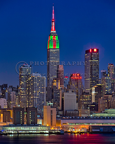 Empire State Building Illuminated with red and green lights for Christmas.