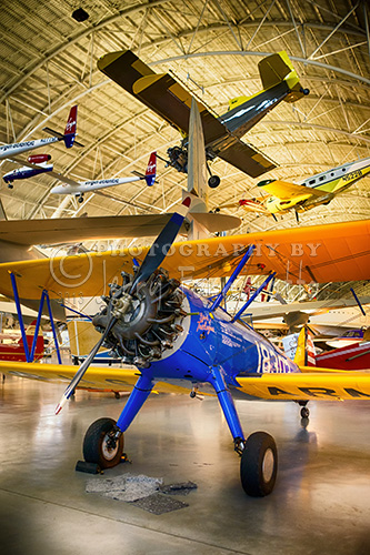 A photo of a trainer plane used by the Tuskegee Airman. Tuskegee airman used this plane during training at Moton Field, Alabama. This PT-13D Stearman is now on display at the National Air and Space Museum outside of Washington D.C..