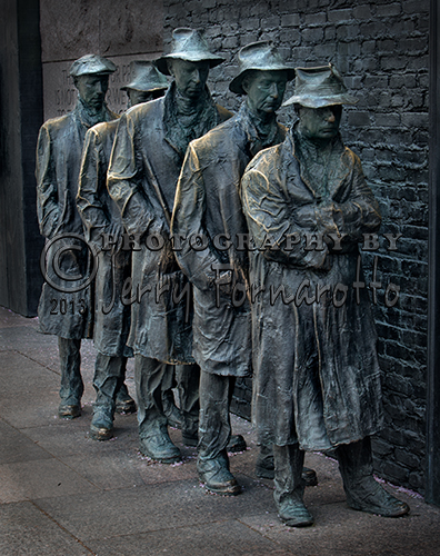 """Bread Line"" is one of the four rooms of the FRD Memorial. It was sculpted by George Segal. Bread lines were formed at places were food was offered to the hungry during the Great Depression."