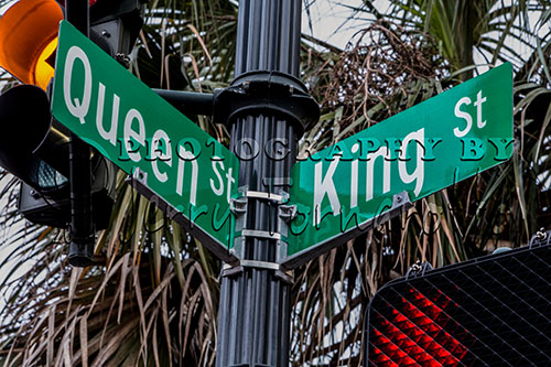 Street signs on the corner of King and Queen Streets, Charleston, SC.
