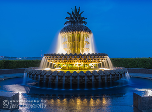 The Pineapple Fountain is located in the Waterfront Park, Charleston, South Carolina.