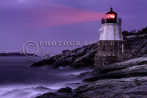 Castle Hill Lighthouse marks the entrance to the Narragansett Bay in Newport, Rhode Island. Completed in 1890 the lighthouse was built into the cliff face. The light is built out of granite and stands thirty-four feet tall.