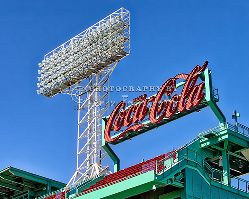 Coca-Cola sign and floodlights