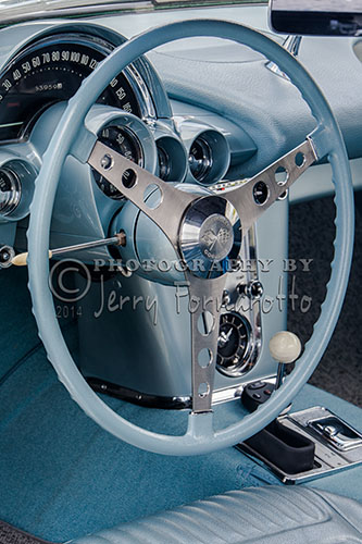"""""""Blue-gray"""" interior of a 1958 fuel-injected Chevrolet Corvette."""