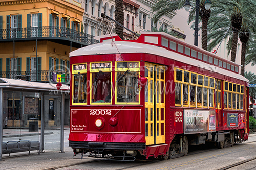 A vintage trolley on Canal Street, New Orleans.