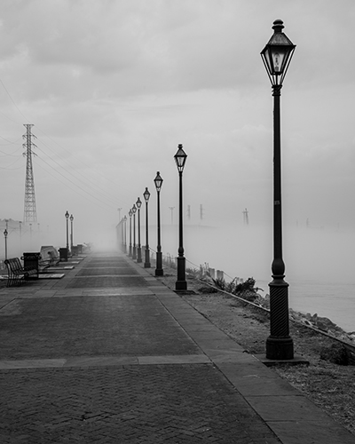 A foggy morning along the Mississippi River in New Orleans,