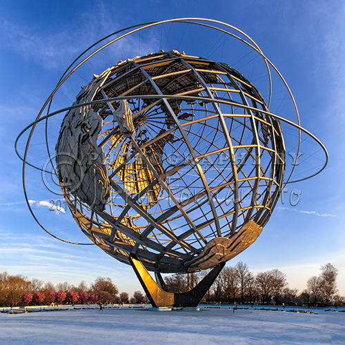 The Unisphere is located in Fairgrounds in Queens, New York City. It was the centerpiece of the 1964-1965 World's Fair. The sphere is 140 feet tall, 120 feet in diameter and weighs 900,000 pounds. The sculpture was built by the U.S. Steel Corporation as a symbol of world peace.