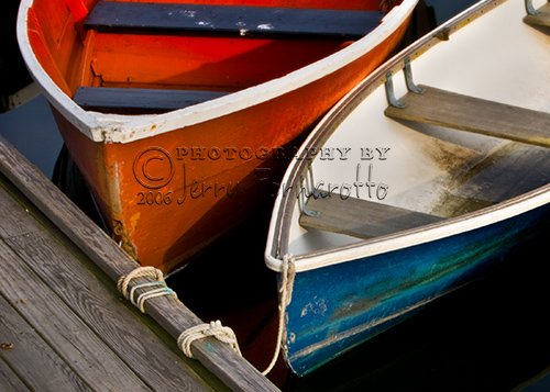 Blue and Red Dinghies