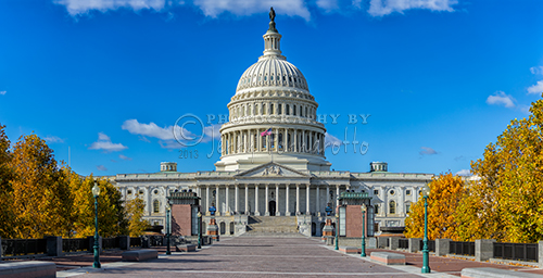 A panoramic view of the United States Capitol Building.