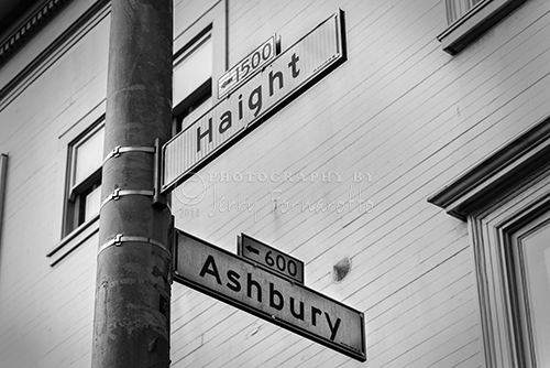 The corners of Haight and Ashbury in San Francisco, California.