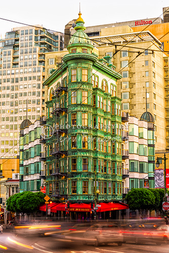 The Sentinel Building or Columbus Tower is on the corners of Columbus Ave and Kearny St, San Francisco. This distintive green flatiron building is now the headquaters for Francis Ford Coppola's Zoetrope Studio.