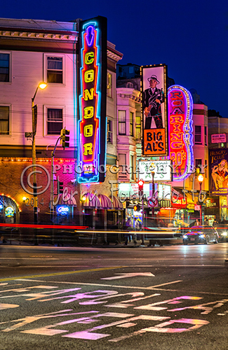 The striptease bars or topless bars are in the North Beach section of San Francisco, in California.