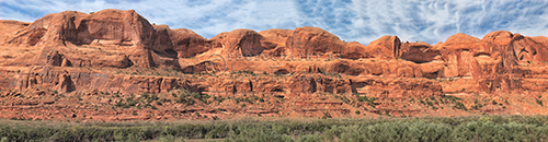 A panoramic view Highway 128 outside of Moab, Utah. The road is aslo known as the Dinosaur Diamond Prehistoric Highway.