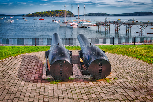 Antique cannons overlooking Bar Harbor, Maine.