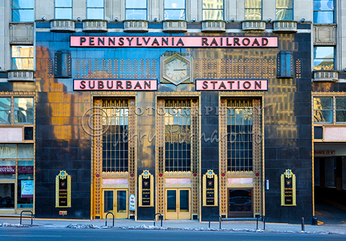 "The ""Suburban Station"" is located in the Center City Philadelphia on 16th Street and JFK Boulevard. The station with its art deco facade was built in 1938."