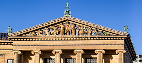 The Philadelphia Museum of Art is located at the end of Benjamin Franklin Parkway. It is one of the countries largest art museums. The front pediment features a polychrome sculpture by C. Paul Jennewein.