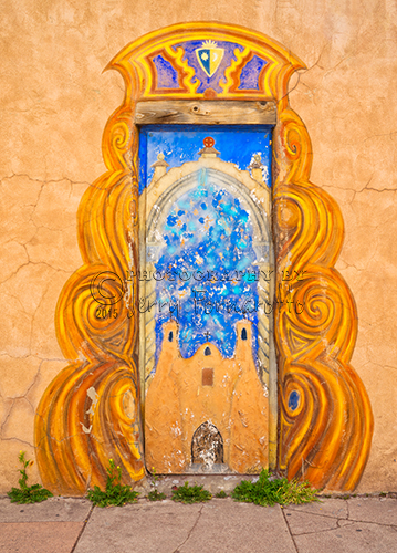 A colorfully painted door in Taos, New Mexico.