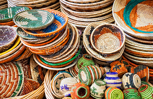 Colorful woven baskets being sold by a street vender in Santa Fe, New Mexico. Sony A7R, FE 24-70mm FA ZA OSS
