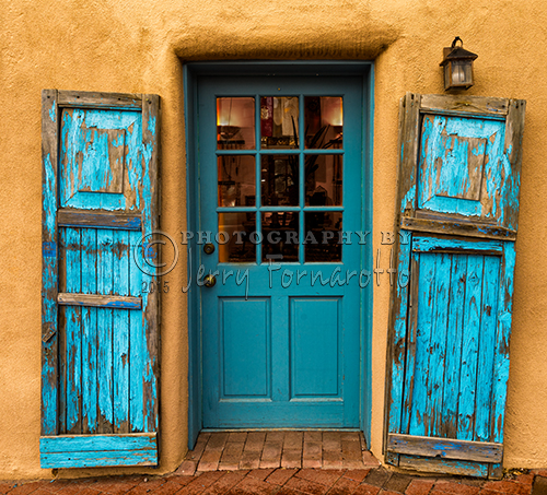 A colorful turquoise door in Santa Fe, New Mexico. Sony A7R, FE 24-70mm F4 ZA OSS