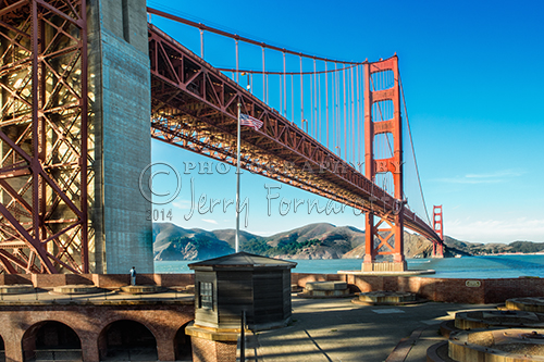 The view of the Golden Gate Bridge from the top deck of Fort Point.