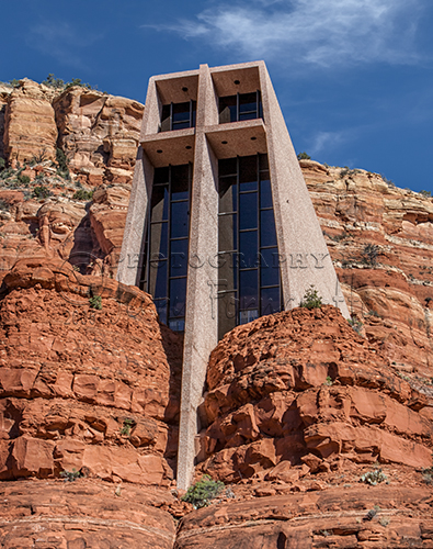 The Chapel of the Holy Cross was built into a butte in Sedona, Arizona. A local rancher and sculpture, Marguerite Brunswig Staude, commissioned the chapel. The building was completed in 1956.