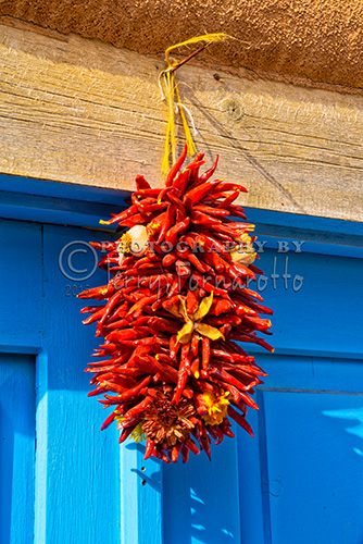 Bunches of dry chilies on display at a market in Santa Fe, New Mexico.
