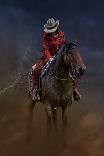 Horse and rider emerging from a storm.