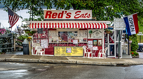 Red's Eats opened in Wiscasset, Maine in 1954. Red's is famous for their lobster rolls and fried clams.