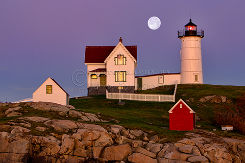 """Nubble Lighthouse and Moon"""