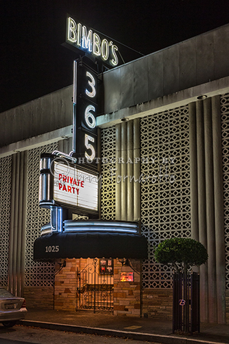 Bimbo's 365 Club is located at 1025 Columbus Avenue, San Francisco. Bimbo's opened in 1951. Over the years a long list of entertainers have preformed here; Joey Bishop, Smokey Robinson, Neil Diamond, Jewel and many more.
