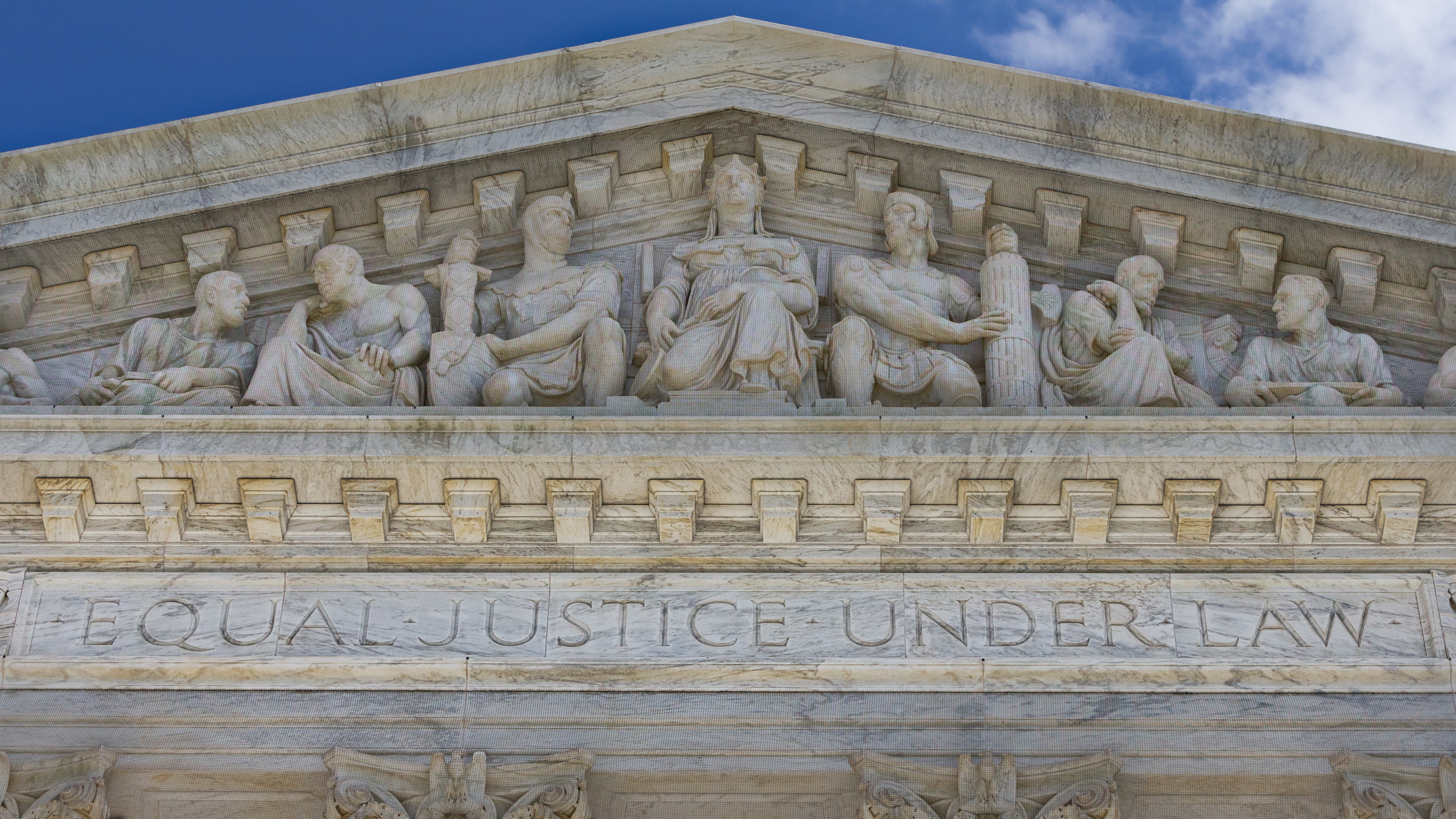 Equal Justice Under Law inscribed on the facade of the Supreme Court Building, Washington, D.C..