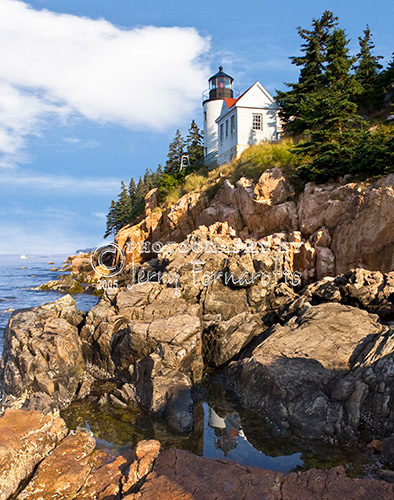 Bass Harbor Lighthouse at sunrise.
