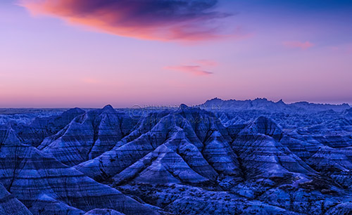 Moments before the early morning light reached the rugged terrain of the Badlands.
