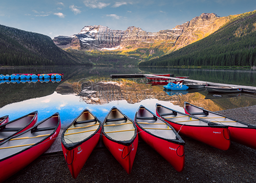 Cameron Lake is located in Waterton National Park, Canada. This pristine alpine lake is at an elevation of 5400 feet. The backdrop for this crystal clear lake are the Rocky Mountains.