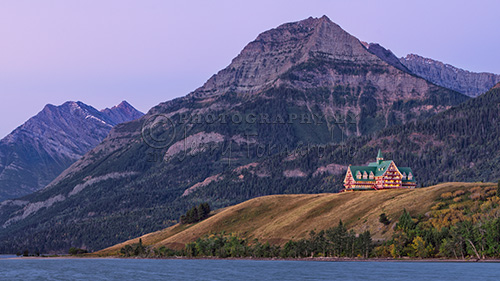 The Prince of Wales Hotel overlooks Waterton Lake. It opened in 1927 by the Great Northern Railway.