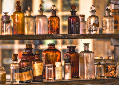 Old apothecary bottles from the Thomas Edison National Historical Park, West Orange, New Jersey.