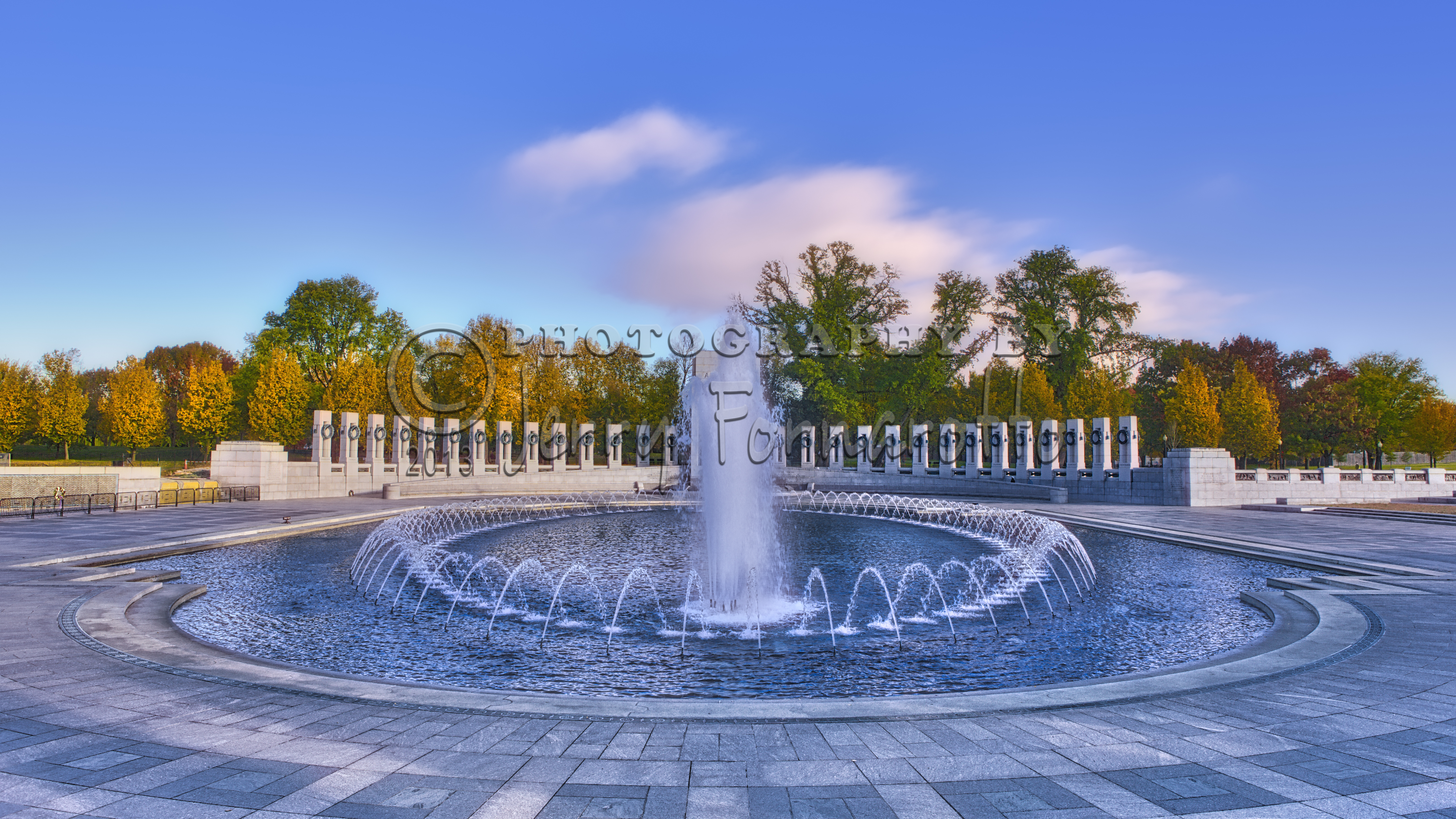 The National World War II Memorial is located on the National Mall in Washington D.C.. It is dedicated to the Americans who served in the armed forces and to civilans during World War II.
