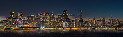 The view of the San Francisco skyline from Treasure Island.