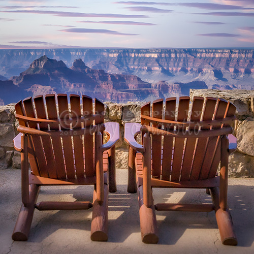 Two chairs on the deck of the Grand Canyon Lodge North Rim.