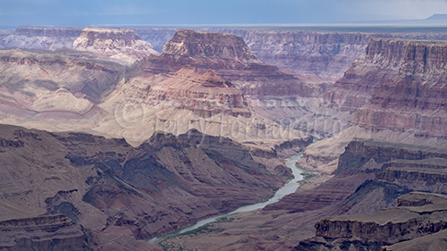 Overview of the Grand Canyon National Park and the Colorado River from the South Rim.