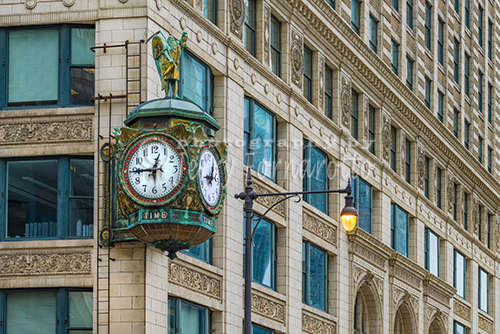 The Father Time Clock is on the Jeweler's Building in Chicago, Illinois.