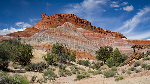 Road 585 travels through the Paria Valley of the Grand Staircase, Utah.