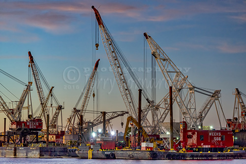 Cranes docked in Jersey City, New Jersey.