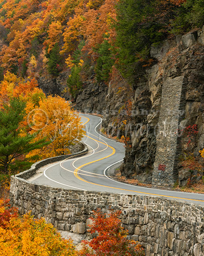 A twisting road along the Delaware River, New York. This road is known as the Upper Delaware Scenic Byway.