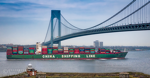 Container Ship Passing the Verrazano Bridge