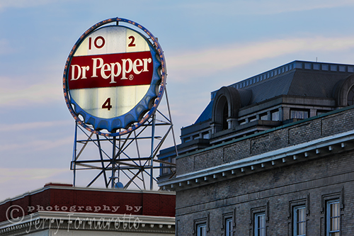 Classic Dr. Pepper sign downtown Roanoke, Virginia.