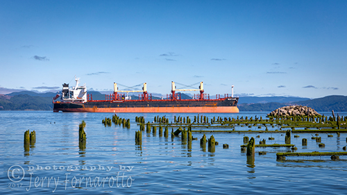 The cargo ship Belle Plaine anchored in the Columbia River.